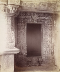 Close view of entrance to the shrine of the old temple at Kasara, Gujarat